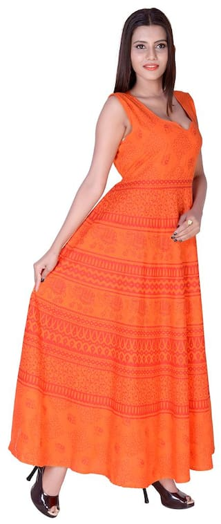 Animal Ankel Cotton Size Indo Maxi Orange Western Length Dress Print Free fabColors TURnFdyqWT