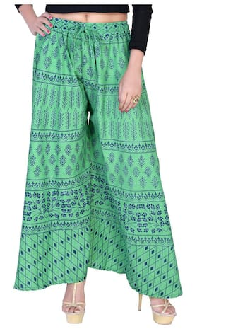 Fabcolors Casual Wear Abstract Print Wide Leg Palazzo for Women in Free Size (Green)