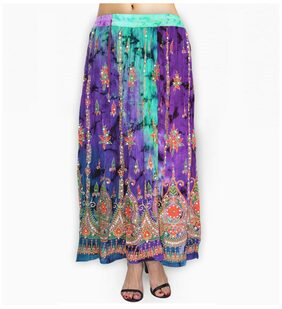fabcolors Casual Wear Full Length Elastic Waist Rayon Skirt with Sequnce Embroidery Work (Multi Color )
