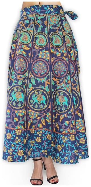 fabcolors Cotton Wrap Around Skirt in Full Length( 93.98 cm (37 Inch)) for Women