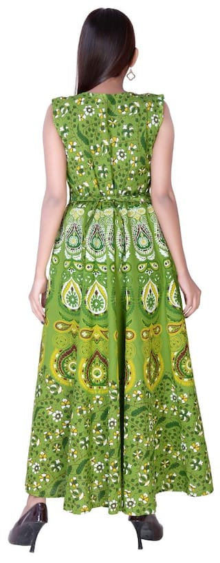 Length fabColors Floral Maxi Print Green Size Western Cotton Ankel Dress Indo Free 886qdw