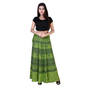 fabcolors Women's Cotton Animal Print Wrap Around Full Length Skirt for Casual Wear;Party Wear and Evening Party Wear