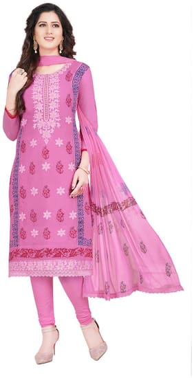 FABFACTTORY's Pink Cotton Embroidery Unstitched Churidar Suit Salwar Suit Dress Material