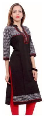 FabGirl Women Cotton Solid Straight Kurta - Black