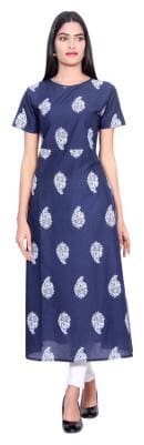 FabGirl Women Cotton Printed A line Kurta - Blue