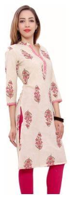 FabGirl Women Cotton Printed Straight Kurta - Beige