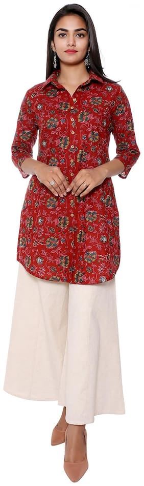 FABGLOBAL Women Floral Shirt style - Maroon