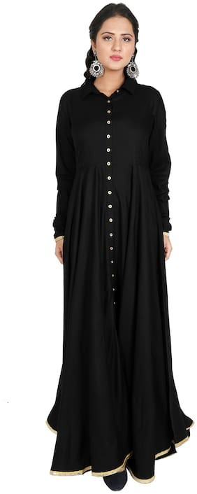 FABGLOBAL Women Black Solid Fit and Flare Kurta