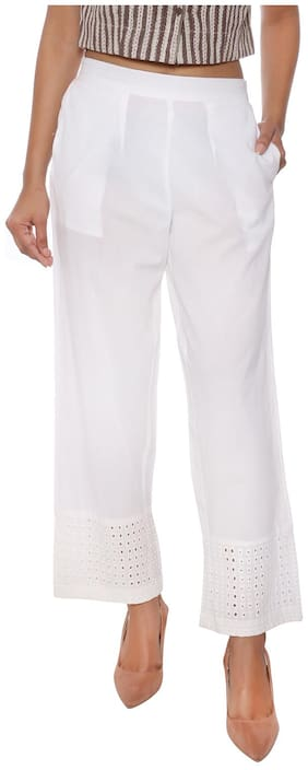 FABGLOBAL Women White Slim fit Regular pants