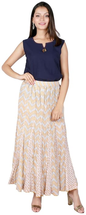 FABGLOBAL Striped Flared skirt Maxi Skirt - Multi