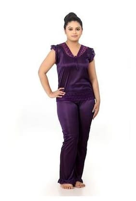 2eaeb699402 Fabme Satin Night Gown Solid Nightwear Purple - (Pack of 1 )