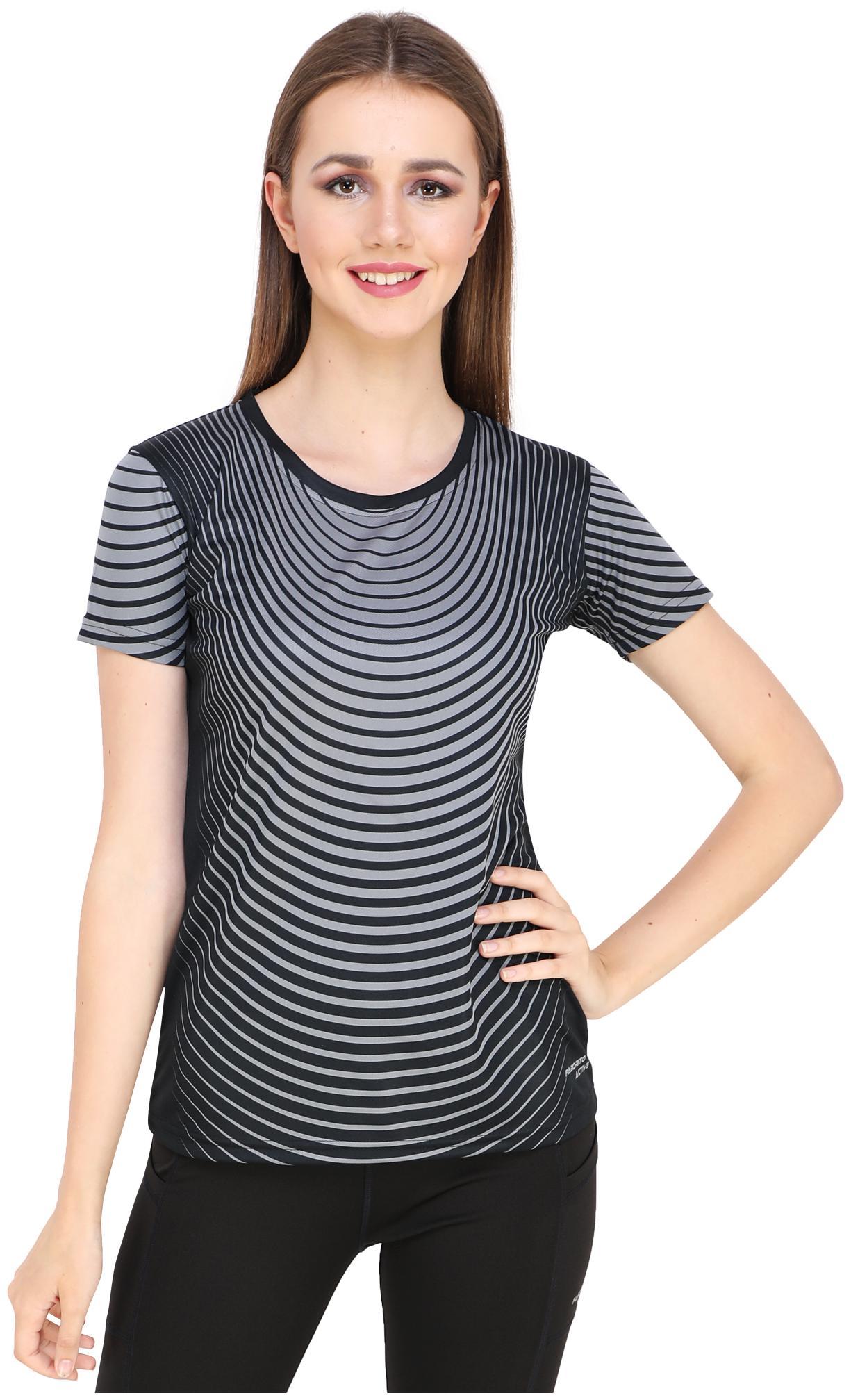FABORITO Women Striped Sports T Shirt   Grey   Black