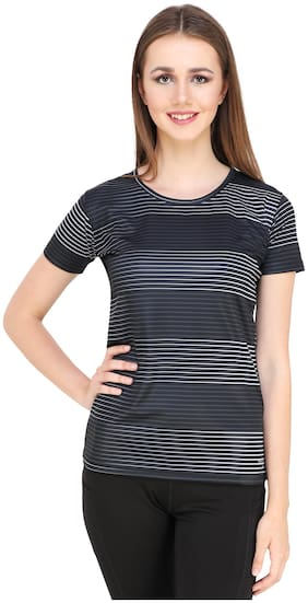 FABORITO Women Striped Sports T-Shirt - Black