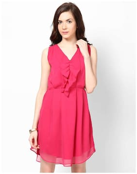 FABRANGE Cotton Solid A-line Dress Pink