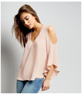 Fabrange Pink V Neck Lattice Cold Shoulder Top
