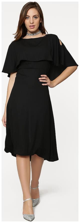 Fabrange Polyester Black Midi Cape Dress