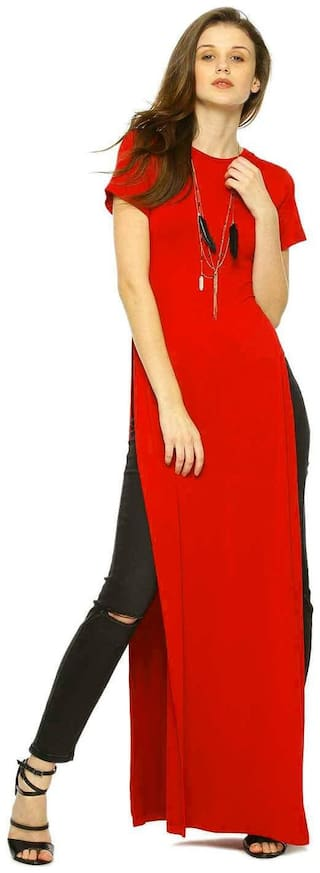 Fabrange Red High Slit Polyester Maxi Top