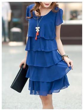 Fabrange Royal Blue Ruffle Layered Dress for Women
