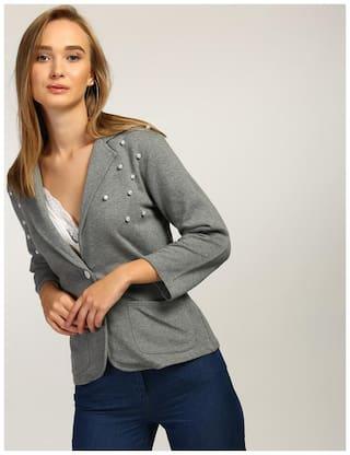 FABRANGE Women Solid Regular fit Blazer - Grey