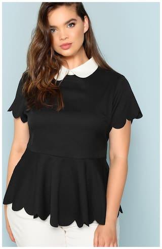 Fabrange Women's Black Contrast Collar Scallop Peplum Top