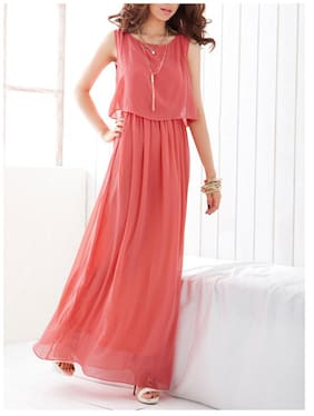 f608a29c4be FABRANGE Georgette Solid Maxi Dress Pink