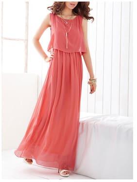 776d5968bf4 FABRANGE Georgette Solid Maxi Dress Pink