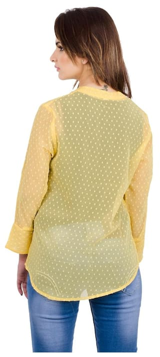 Dot Fabrify Yellow Georgette Pattern Swiss Top TOP2066;Large Women's qqCE8wF