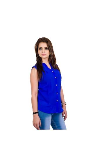 Women's Fabrify Blue Top TOP2068;Large Georgette Plain Fr4rcyRqf