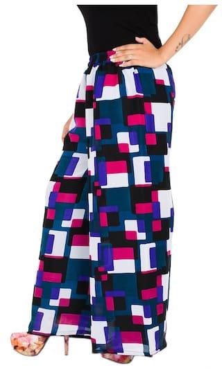 Palazzo Printed Fabrify Blue;Black;Purple Georgette Plz7015;M Women's qFnfH6vwT