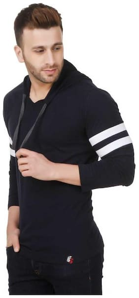FABSTIEVE Men Regular fit Hood Solid T-Shirt - Navy blue