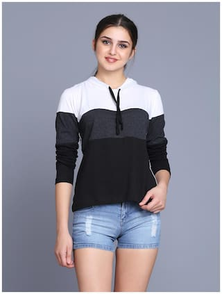 fabstone collection Women Multi Regular fit Hooded Cotton T shirt