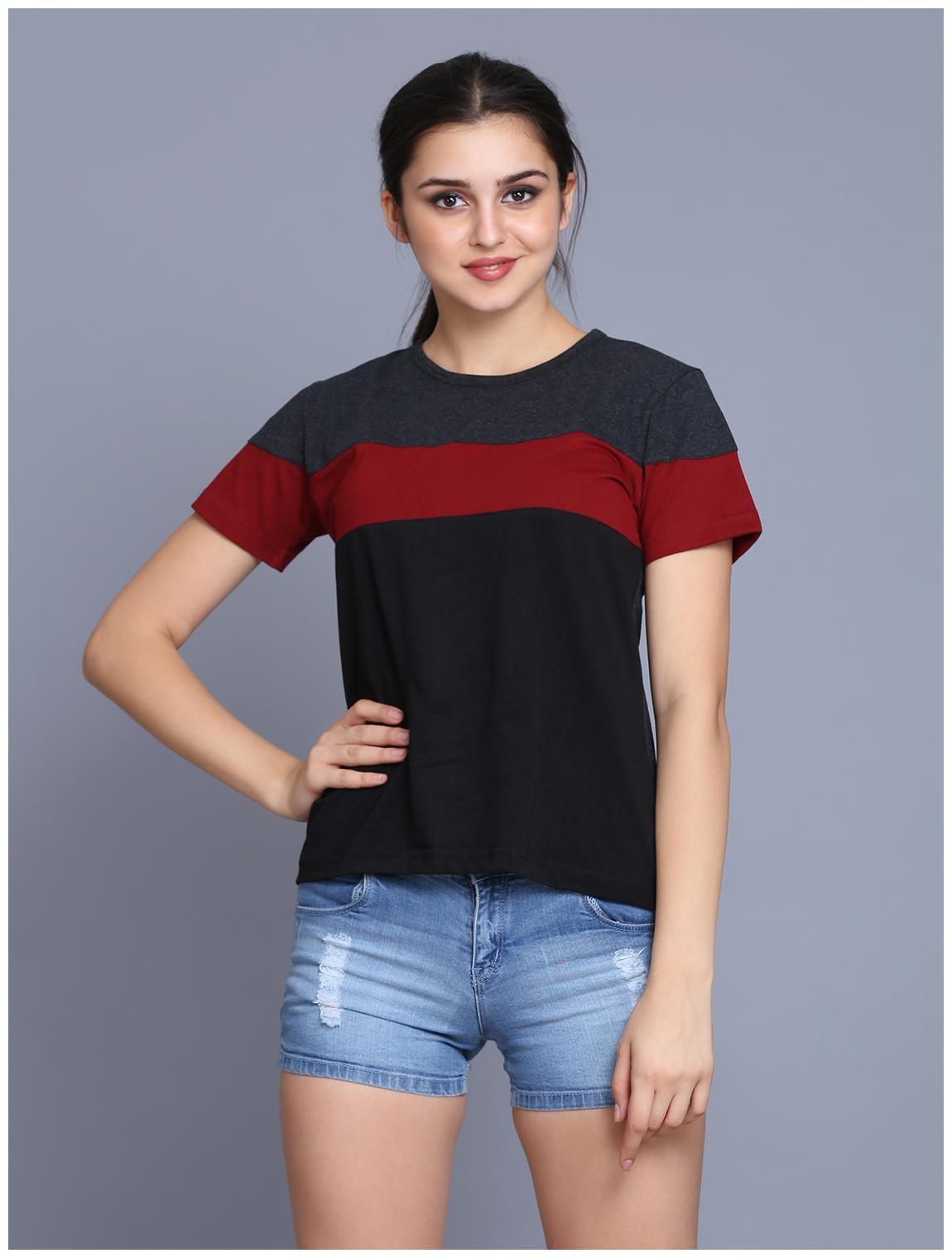 fabstone collection Women Black Regular fit Round neck Cotton T shirt