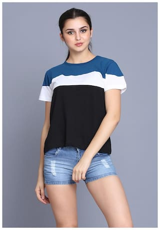 fabstone collection Women Multi Regular fit Round neck Cotton T shirt
