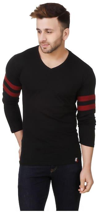 6452fffa38 Buy fabstone collection Men Regular Fit V Neck Solid T-Shirt - Black ...