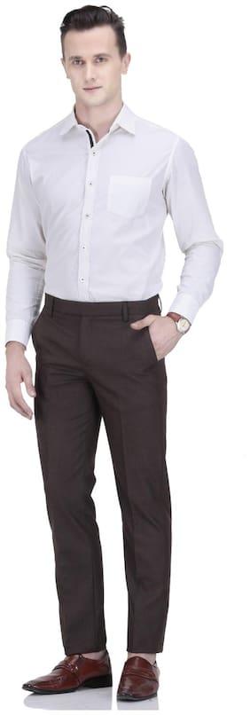 febulous Men Solid Regular Fit Formal Trouser - Brown