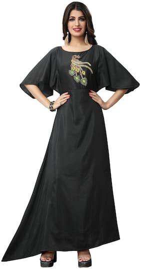 Fabvilla  Black Embroidered Musline Satin  Designer Gown