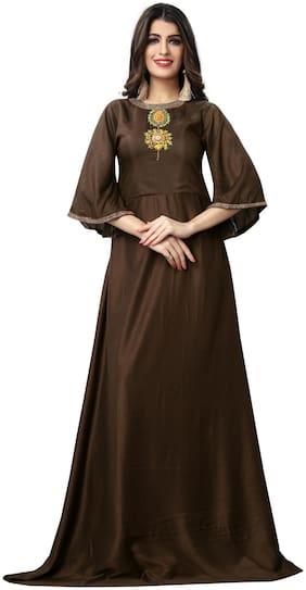 Fabvilla  Brown Hand Work Embroidered Musline Satin  Designer Gown