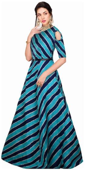 Fabvilla Exclusive Designer Benglori Satin Silk Gown