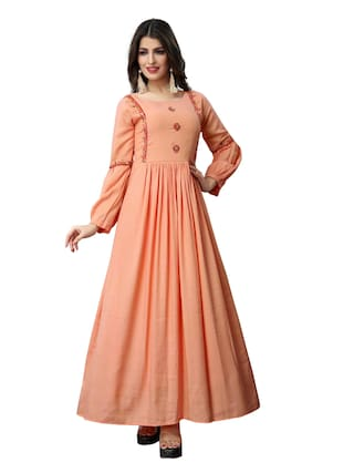 Fabvilla  Light Orange Embroidered Musline Satin  Designer Gown