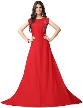 Fabvilla  Red Embroidered Heavy Rayon  Designer Gown
