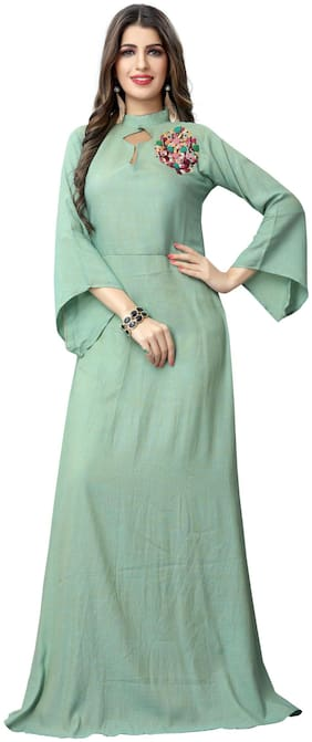 Fabvilla  Sky Blue Hand Work Embroidered Reyon Slub  Designer Gown