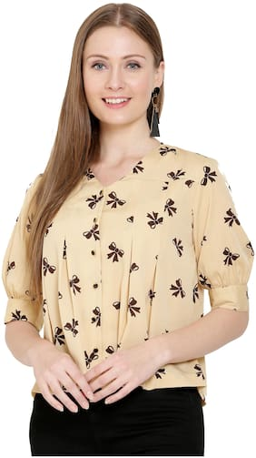Women Printed V Neck Top