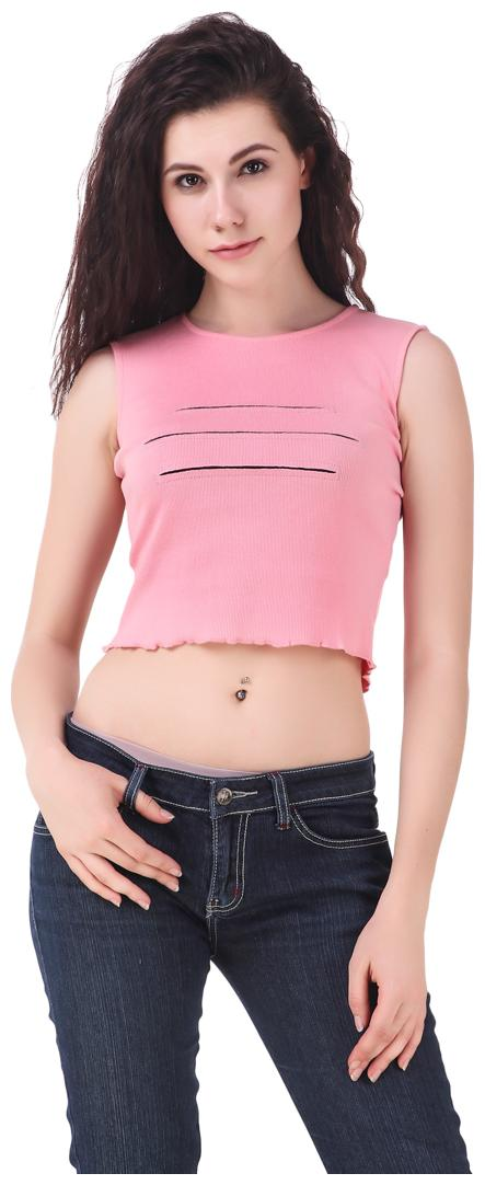 Fairiano Casual Sleeveless Solid Women Pink Crop Top