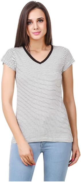 FAIRIANO Women Striped Regular top - Black