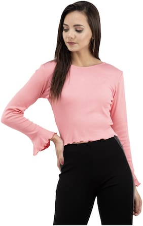 FAIRIANO Women Solid Regular top - Pink