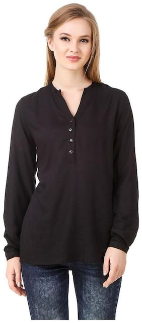 FAIRIANO Women Black Solid Regular Fit Shirt