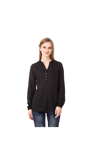 Fairiano Women Full Sleeve Rayon Solid Black Shirt