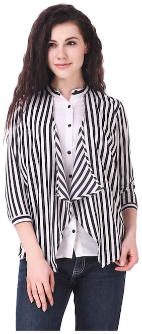 FAIRIANO Women Black & White Regular fit Mandarin collar Polyester T shirt
