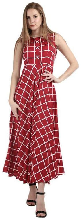 PHONIC Red Checked Maxi dress