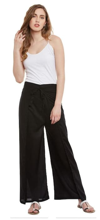 Famous by payal kapoor black wrap pants